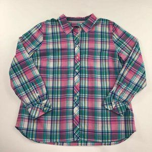 Talbots Womens Button Front Shirt Multicolor XL